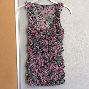 XS Express pink floral ruffle tank